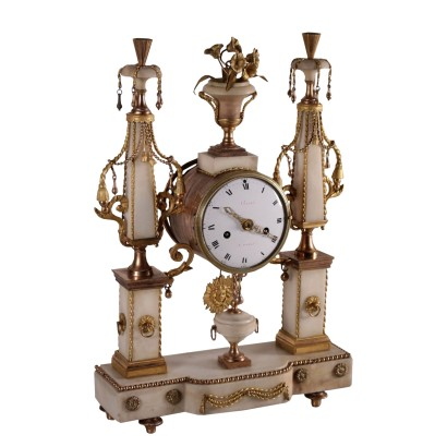 Table Clock Gilded Bronze and White Marble France 18th Century