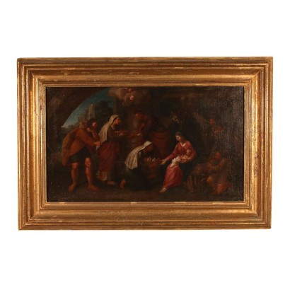 Adoration of Shepherds Oil on Canvas Emilian School 18th Century