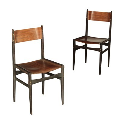 Pair of Chairs Beech and Plywood Italy 1960s Italina Production