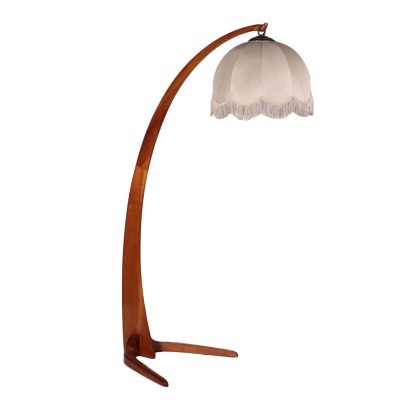 Lamp Stained Beech Wood Fabric Italy 1940s 1950s