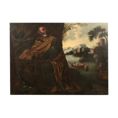 Saint Peter And The Rooster Oil On Canvas 17th 18th Century