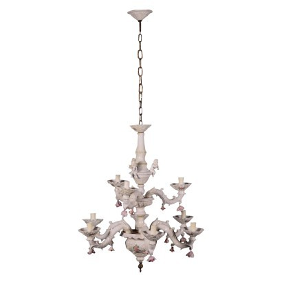 Capodimonte Chandelier Ceramic Italy 20th Century