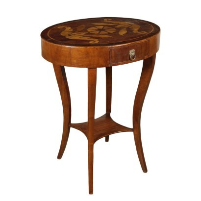Small Revival Table Mahogany Walnut Marple Italy 20th Century
