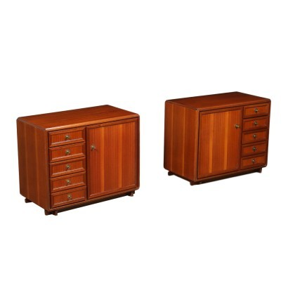 Small Furnitures Mahogany Veneer Brass Italy 1960s-1970s
