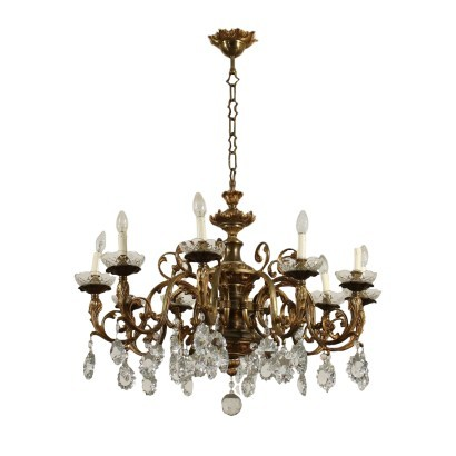 10 Lights Chandelier Bronze Brass Glass Italy 20th Century