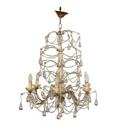 Chandelier Glass Blown Glass Italy 20th Century