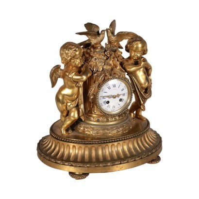 Table Clock E. Mignot Gilded Bronze Paris France Third Quarter 1800