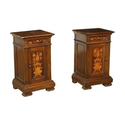 Pair of Liberty Bedside Tables Walnut Oak Marple Italy 20th Century
