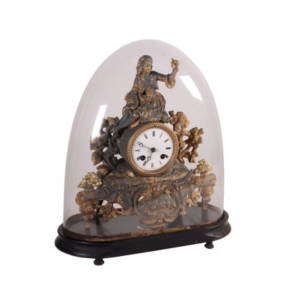 Table Clock With Case Gilded Antimony France 19th Century